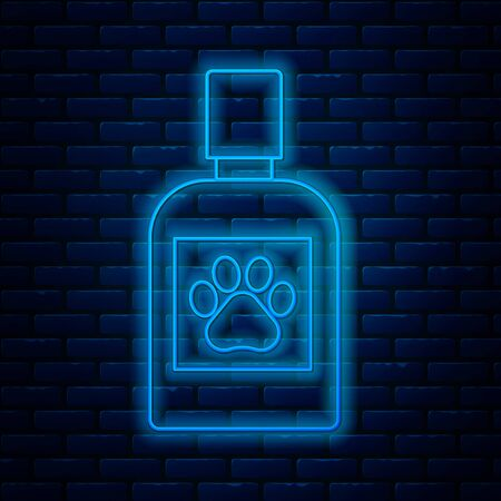 Glowing neon line Dog medicine bottle icon isolated on brick wall background. Container with pills. Prescription medicine for animal. Vector Illustration