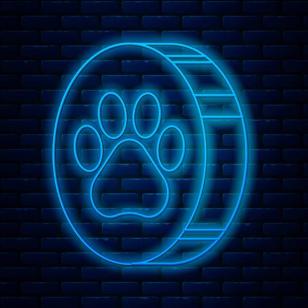 Glowing neon line Paw print icon isolated on brick wall background. Dog or cat paw print. Animal track. Vector Illustration Illustration