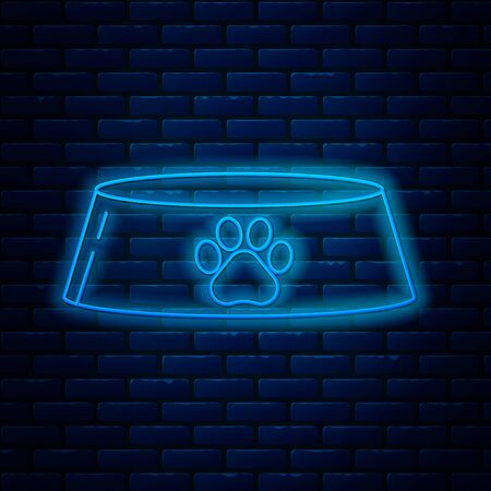 Glowing neon line Pet food bowl for cat or dog icon isolated on brick wall background. Dog or cat paw print. Vector Illustration Ilustração