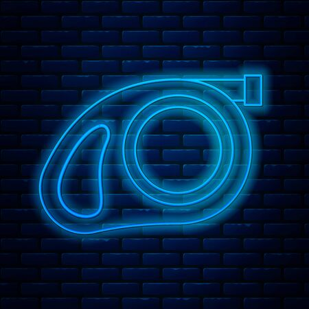Glowing neon line Retractable cord leash with carabiner icon isolated on brick wall background. Pet dog lead. Pet supplies. Animal accessory for outdoors walk. Vector Illustration Ilustração