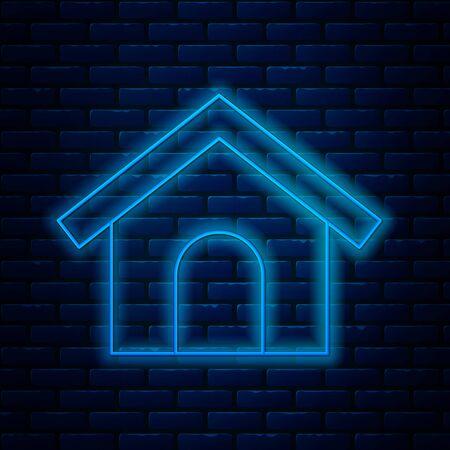 Glowing neon line Dog house icon isolated on brick wall background. Dog kennel. Vector Illustration Illusztráció