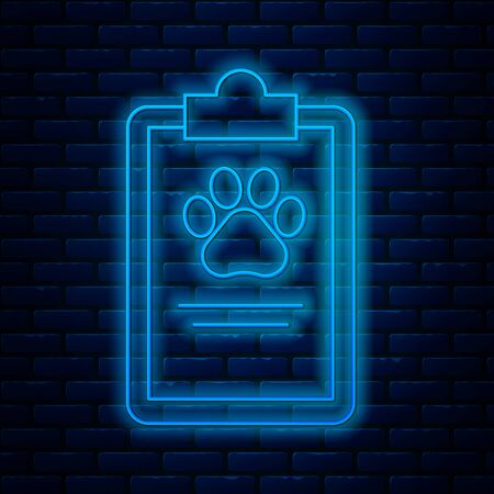 Glowing neon line Clipboard with medical clinical record pet icon isolated on brick wall background. Health insurance form. Medical check marks report. Vector Illustration
