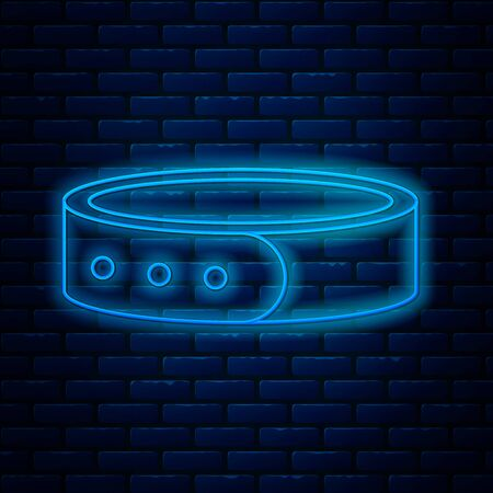 Glowing neon line Collar with name tag icon isolated on brick wall background. Simple supplies for domestic animal. Cat and dog care. Pet chains. Vector Illustration