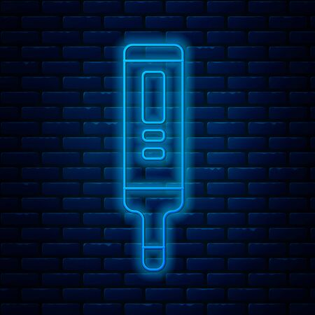 Glowing neon line Medical digital thermometer for medical examination icon isolated on brick wall background. Vector Illustration