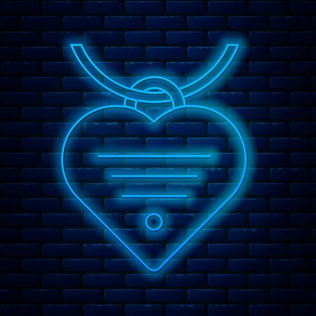 Glowing neon line Collar with name tag and heart icon isolated on brick wall background. Simple supplies for domestic animal. Cat and dog care. Pet chains. Vector Illustration Иллюстрация