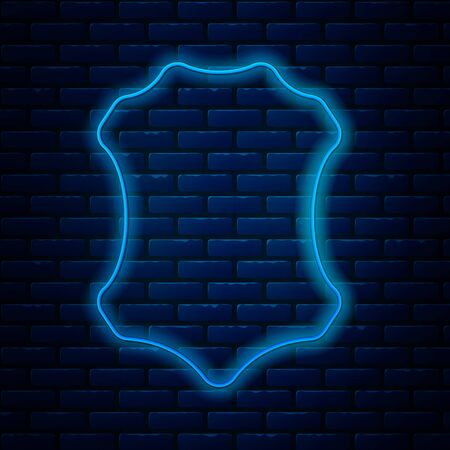 Glowing neon line Leather icon isolated on brick wall background. Vector Illustration Çizim