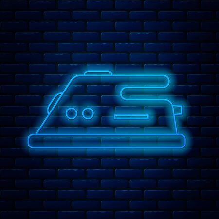 Glowing neon line Electric iron icon isolated on brick wall background. Steam iron. Vector Illustration 矢量图像