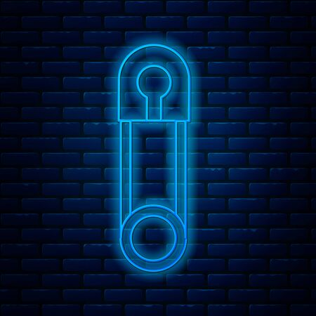 Glowing neon line Classic closed steel safety pin icon isolated on brick wall background. Vector Illustration