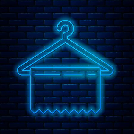 Glowing neon line Hanger wardrobe icon isolated on brick wall background. Clean towel sign. Cloakroom icon. Clothes service symbol. Laundry hanger sign. Vector Illustration