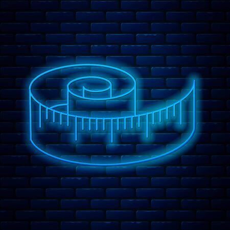 Glowing neon line Tape measure icon isolated on brick wall background. Measuring tape. Vector Illustration