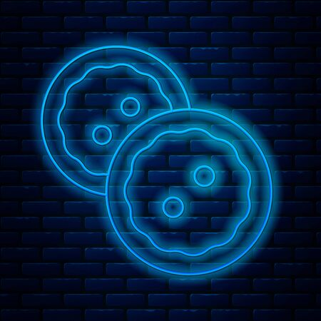 Glowing neon line Sewing button for clothes icon isolated on brick wall background. Clothing buttons. Vector Illustration Ilustração