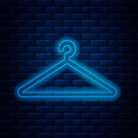 Glowing neon line Hanger wardrobe icon isolated on brick wall background. Cloakroom icon. Clothes service symbol. Laundry hanger sign. Vector Illustration