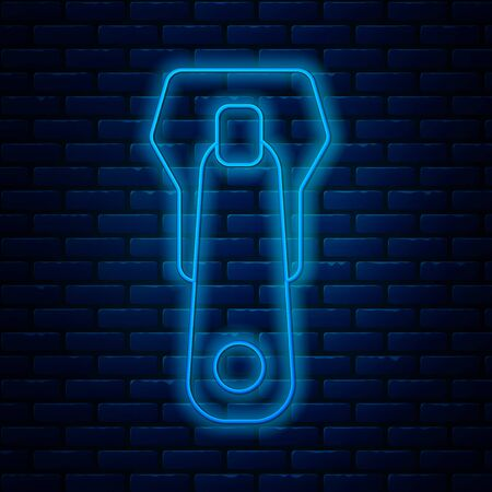 Glowing neon line Zipper icon isolated on brick wall background. Vector Illustration