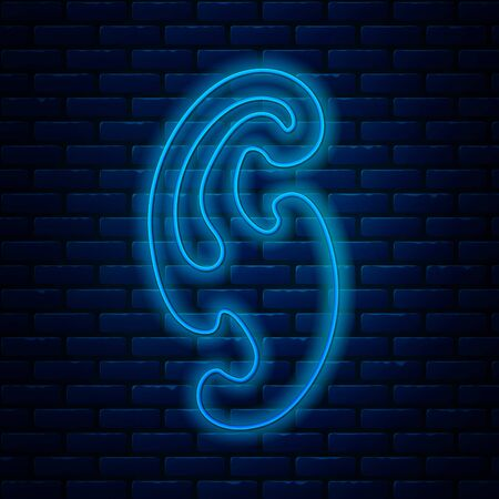 Glowing neon line French curves icon isolated on brick wall background. Sewing equipment. Vector Illustration Archivio Fotografico - 133713902