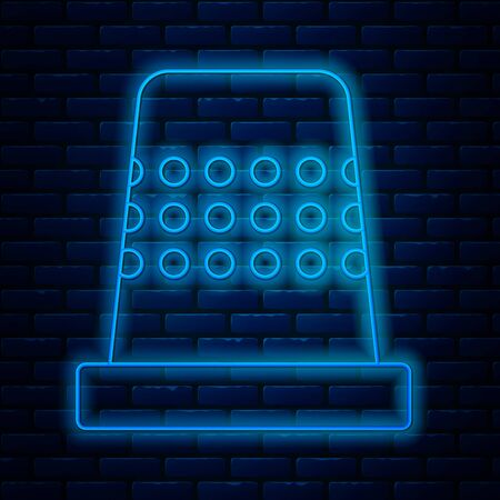 Glowing neon line Thimble for sewing icon isolated on brick wall background. Vector Illustration Ilustração