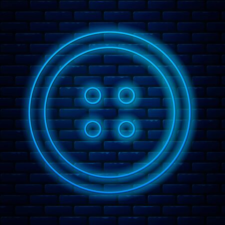 Glowing neon line Sewing button for clothes icon isolated on brick wall background. Clothing button. Vector Illustration Ilustração