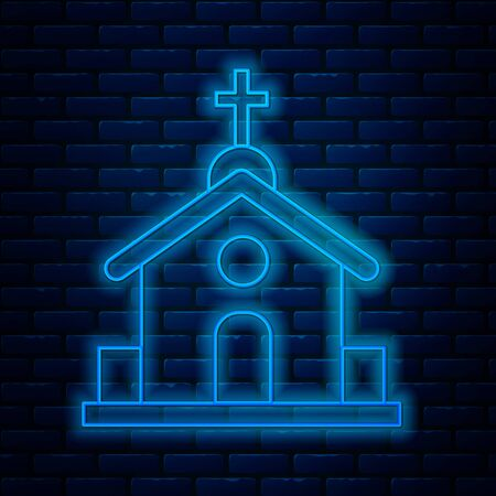 Glowing neon line Church building icon isolated on brick wall background. Christian Church. Religion of church. Vector Illustration