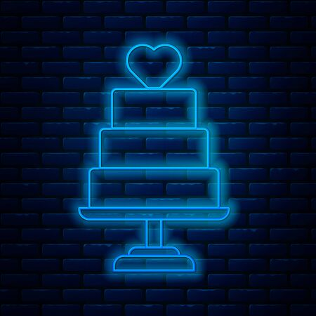 Glowing neon line Wedding cake with heart icon isolated on brick wall background. Vector Illustration