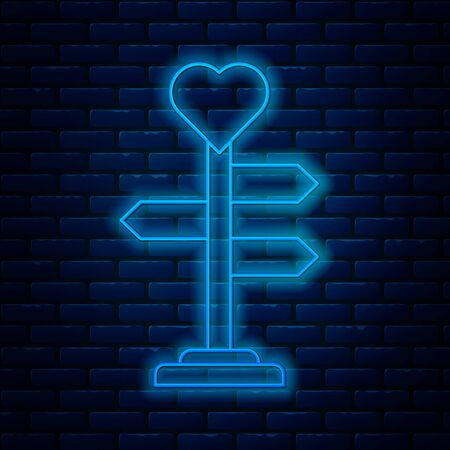 Glowing neon line Road traffic sign. Signpost with heart icon isolated on brick wall background. Isolated street information sign. Direction sign. Vector Illustration
