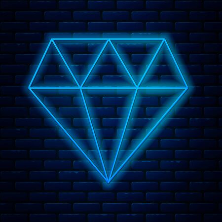 Glowing neon line Diamond icon isolated on brick wall background. Jewelry symbol. Gem stone. Vector Illustration