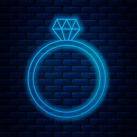 Glowing neon line Diamond engagement ring icon isolated on brick wall background. Vector Illustration