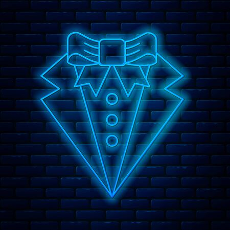 Glowing neon line Suit icon isolated on brick wall background. Tuxedo. Wedding suits with necktie. Vector Illustration 일러스트