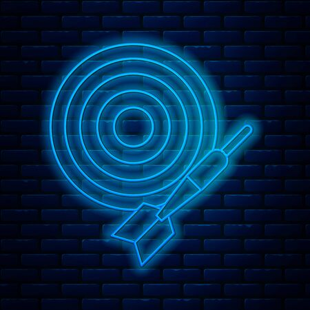 Glowing neon line Classic dart board and arrow icon isolated on brick wall background. Dartboard sign. Game concept. Vector Illustration