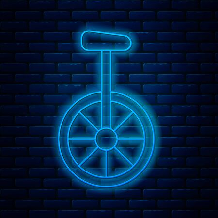 Glowing neon line Unicycle or one wheel bicycle icon isolated on brick wall background. Monowheel bicycle. Vector Illustration
