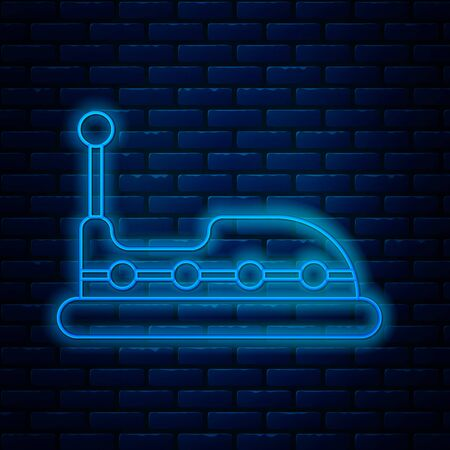 Glowing neon line Bumper car icon isolated on brick wall background. Amusement park. Childrens entertainment playground, recreation park. Vector Illustration