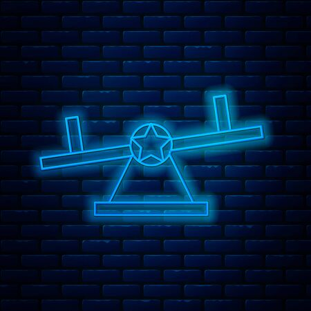 Glowing neon line Seesaw icon isolated on brick wall background. Teeter equal board. Playground symbol. Vector Illustration
