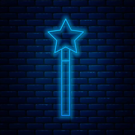 Glowing neon line Magic wand icon isolated on brick wall background. Star shape magic accessory. Magical power. Vector Illustration Ilustração
