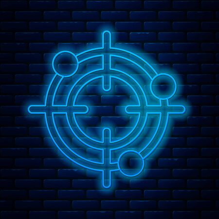 Glowing neon line Target sport for shooting competition icon isolated on brick wall background. Clean target with numbers for shooting range or pistol shooting. Vector Illustration