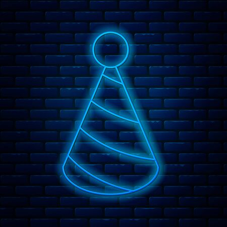 Glowing neon line Party hat icon isolated on brick wall background. Birthday hat. Vector Illustration Ilustração