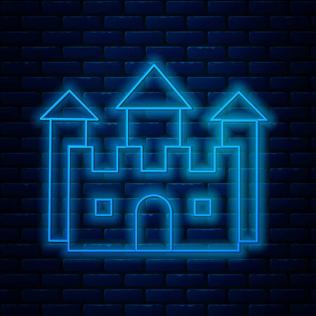 Glowing neon line Castle icon isolated on brick wall background. Vector Illustration
