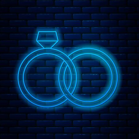 Glowing neon line Wedding rings icon isolated on brick wall background. Bride and groom jewelery sign. Marriage icon. Diamond ring icon. Vector Illustration 일러스트