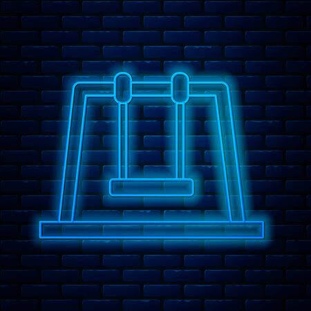 Glowing neon line Swing icon isolated on brick wall background. Playground symbol. Vector Illustration