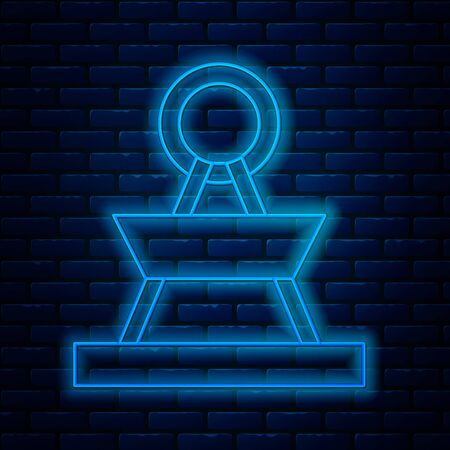 Glowing neon line Attraction carousel icon isolated on brick wall background. Amusement park. Childrens entertainment playground, recreation park. Vector Illustration
