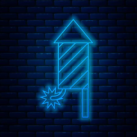 Glowing neon line Firework rocket icon isolated on brick wall background. Concept of fun party. Explosive pyrotechnic symbol. Vector Illustration