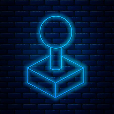 Glowing neon line Joystick for arcade machine icon isolated on brick wall background. Joystick gamepad. Vector Illustration