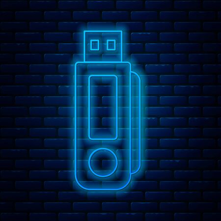 Glowing neon line USB flash drive icon isolated on brick wall background. Vector Illustration