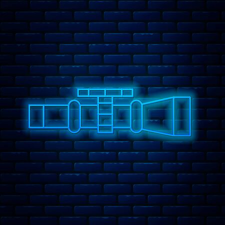 Glowing neon line Sniper optical sight icon isolated on brick wall background. Sniper scope crosshairs. Vector Illustration