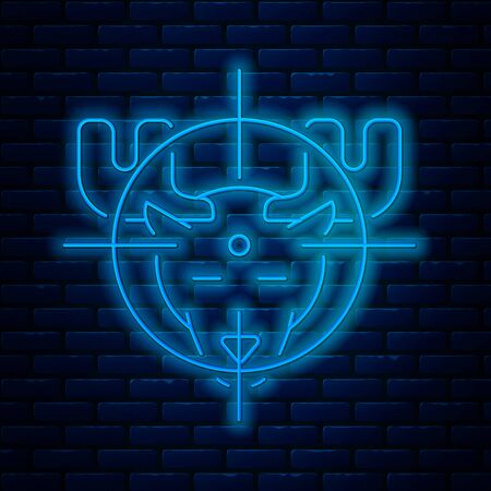 Glowing neon line Hunt on moose with crosshairs icon isolated on brick wall background. Hunting club with moose and target. Rifle lens aiming a moose. Vector Illustration Ilustração