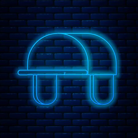 Glowing neon line Hunter hat icon isolated on brick wall background. Plaid winter hat. Vector Illustration Ilustração