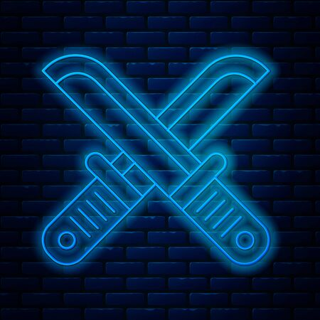Glowing neon line Crossed hunter knife icon isolated on brick wall background. Army knife. Vector Illustration
