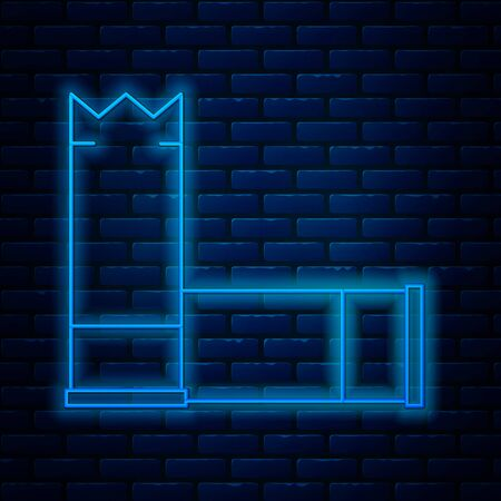 Glowing neon line Cartridges icon isolated on brick wall background. Shotgun hunting firearms cartridge. Hunt rifle bullet icon. Vector Illustration Иллюстрация