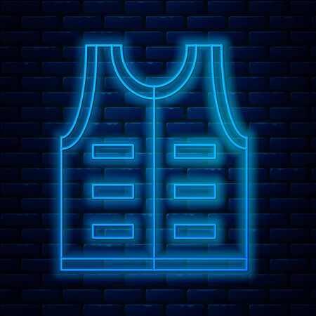 Glowing neon line Hunting jacket icon isolated on brick wall background. Hunting vest. Vector Illustration 일러스트