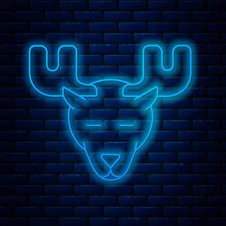 Glowing neon line Moose head with horns icon isolated on brick wall background. Vector Illustration