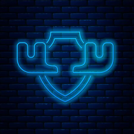Glowing neon line Moose horns on shield icon isolated on brick wall background. Hunting trophy on wall. Vector Illustration Ilustração