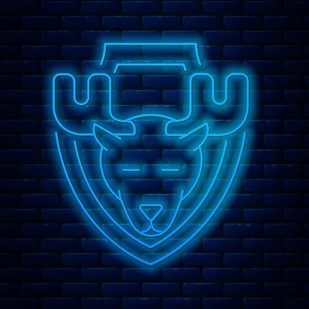 Glowing neon line Moose head on shield icon isolated on brick wall background. Hunting trophy on wall. Vector Illustration