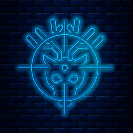 Glowing neon line Hunt on deer with crosshairs icon isolated on brick wall background. Hunting club with deer and target. Rifle lens aiming a deer. Vector Illustration